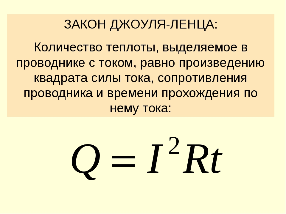 ЗАКОН ДЖОУЛЯ-ЛЕНЦА: Количество теплоты, выделяемое в проводнике с током, равн...