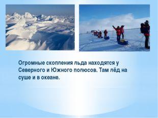 Огромные скопления льда находятся у Северного и Южного полюсов. Там лёд на су