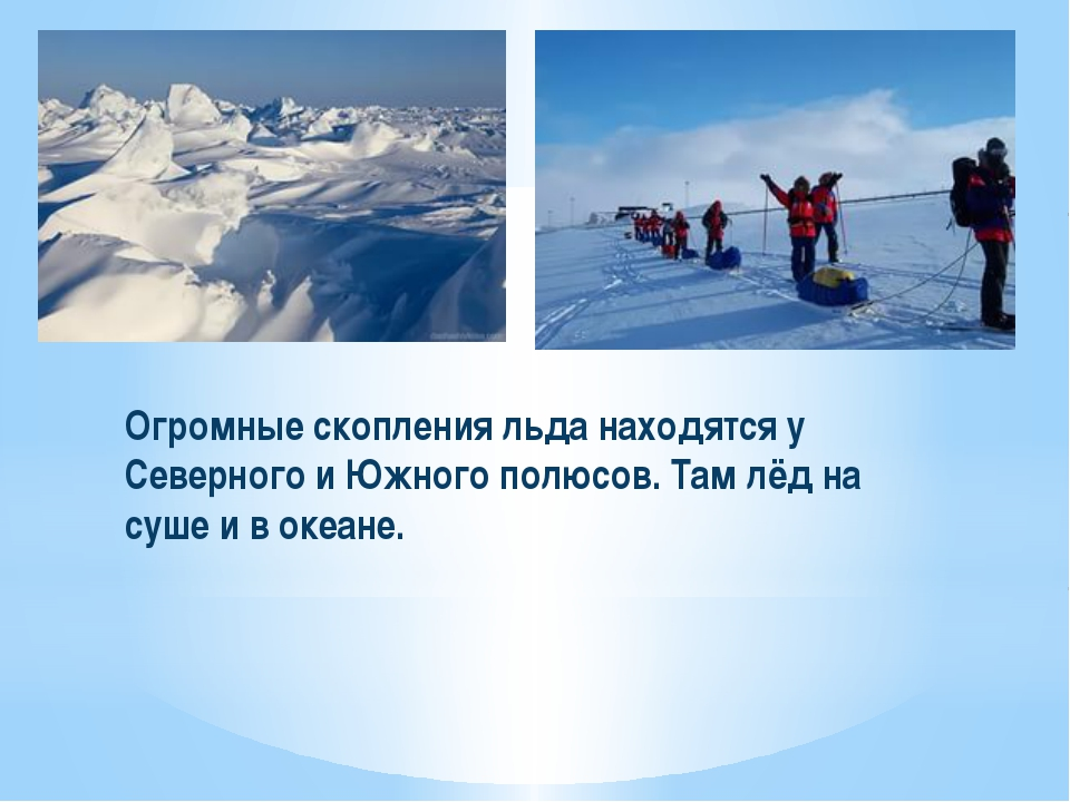 Огромные скопления льда находятся у Северного и Южного полюсов. Там лёд на су...