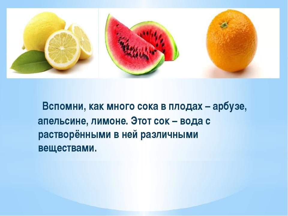 Вспомни, как много сока в плодах – арбузе, апельсине, лимоне. Этот сок – вод...