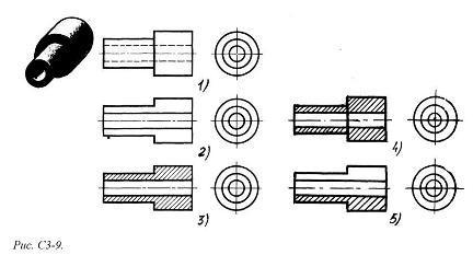 На каком из пяти чертежей выполнен правильно разрез детали, показанной на изображении (см. Рис. С3-9)