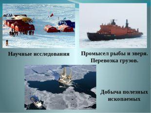 Научные исследования Промысел рыбы и зверя. Перевозка грузов. Добыча полезных