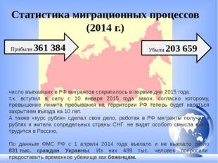 Статистика миграционных процессов (2014 г.) Убыли 203659 Прибыли 361 384 чис