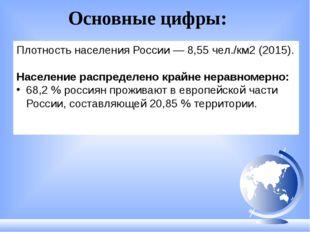 Плотность населения России — 8,55 чел./км2 (2015). Население распределено кра