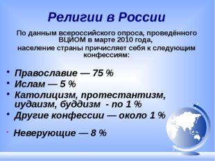 Религии в России По данным всероссийского опроса, проведённого ВЦИОМ в марте
