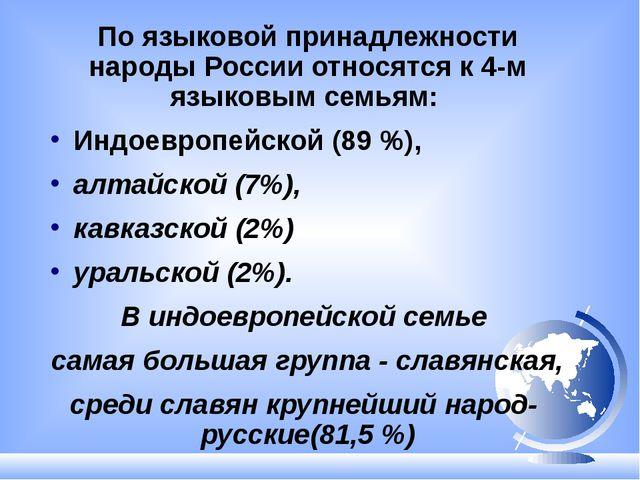 По языковой принадлежности народы России относятся к 4-м языковым семьям: Инд...
