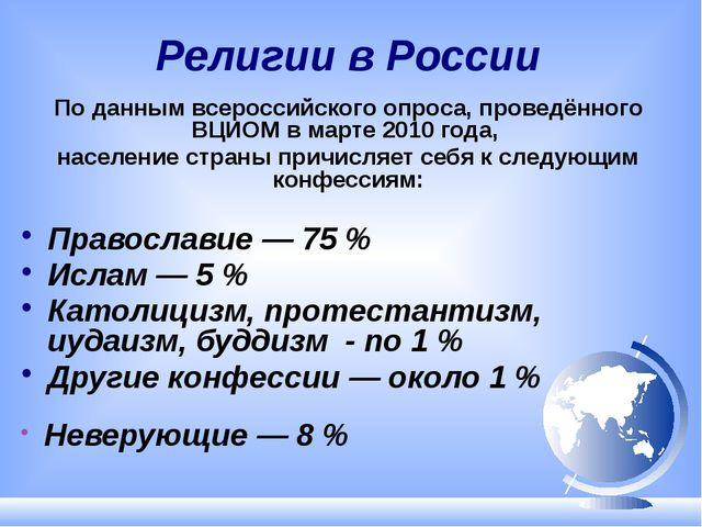 Религии в России По данным всероссийского опроса, проведённого ВЦИОМ в марте...