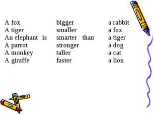 A fox A tiger An elephant A parrot A monkey A giraffe	 is	bigger smaller smar