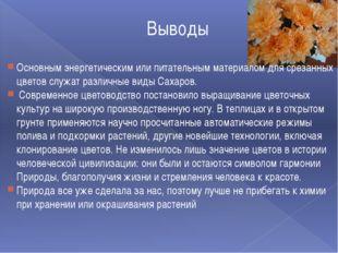 Выводы Основным энергетическим или питательным материалом для срезанных цвето