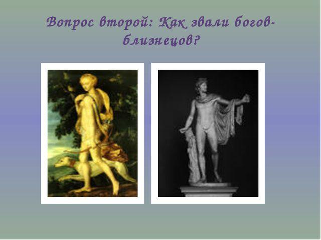 Вопрос второй: Как звали богов-близнецов?