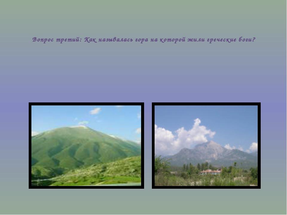 Вопрос третий: Как называлась гора на которой жили греческие боги?