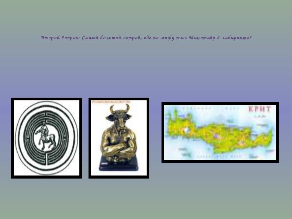 Второй вопрос: Самый большой остров, где по мифу жил Минотавр в лабиринте?
