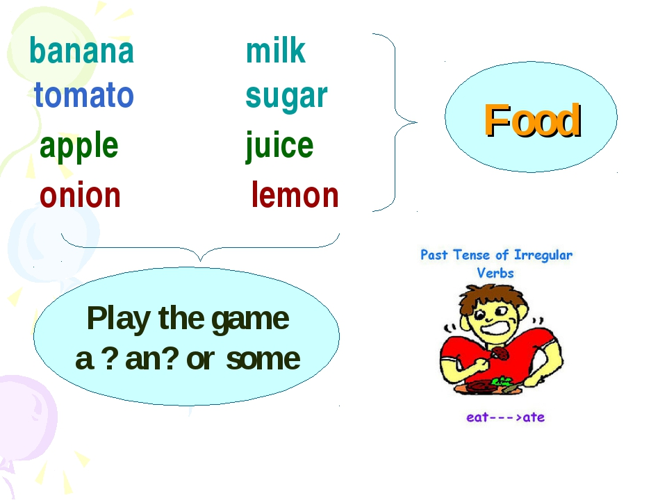 banana tomato apple onion milk sugar juice lemon Food Play the game a ? an? o...