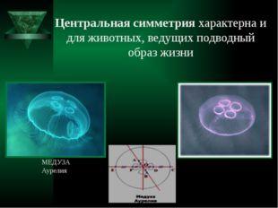 Центральная симметрия характерна и для животных, ведущих подводный образ жизн