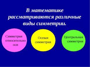 В математике рассматриваются различные виды симметрии. Симметрия относительн