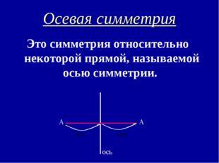 Осевая симметрия Это симметрия относительно некоторой прямой, называемой осью