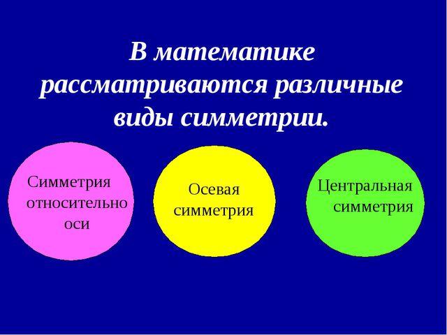 В математике рассматриваются различные виды симметрии. Симметрия относительн...