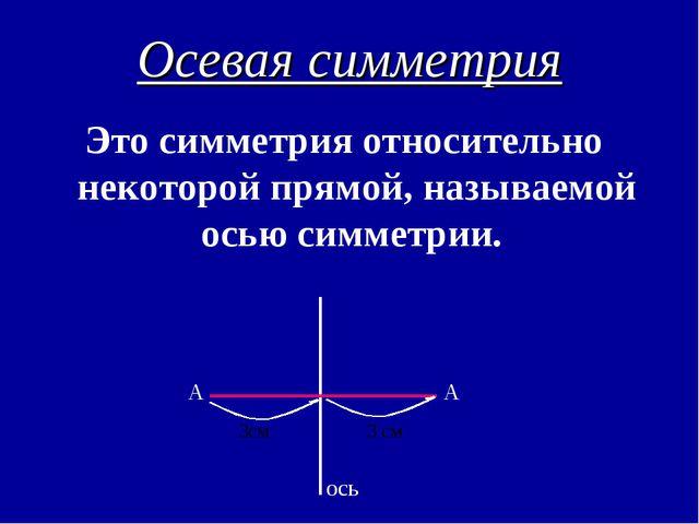 Осевая симметрия Это симметрия относительно некоторой прямой, называемой осью...