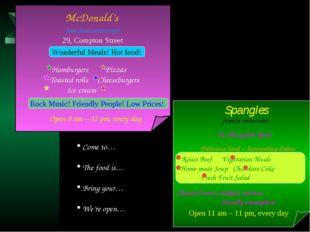 McDonald's fast food restaurant Wonderful Meals! Hot food! 29, Compton Stree