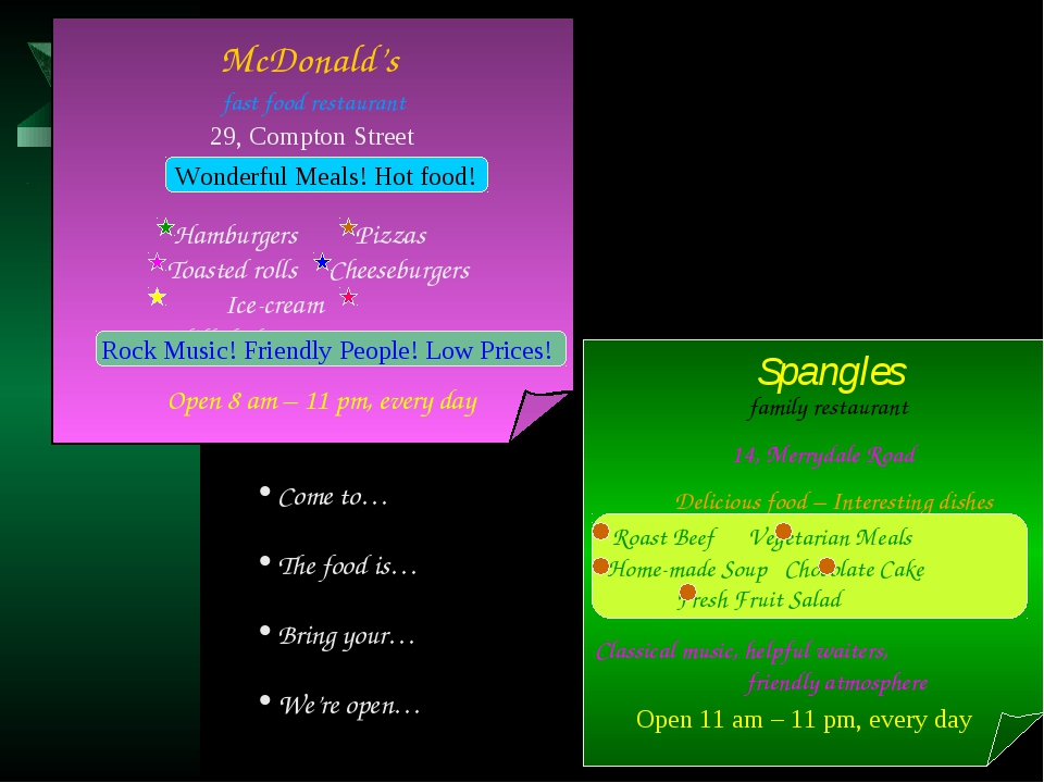 McDonald's fast food restaurant Wonderful Meals! Hot food! 29, Compton Stree...