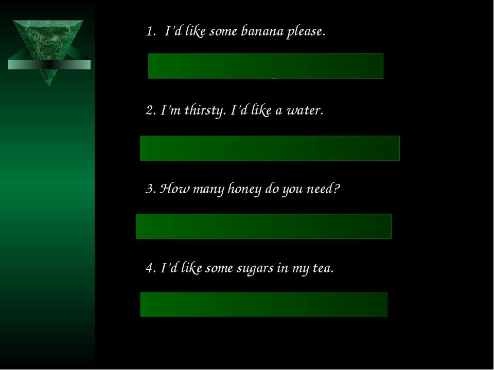 I'd like some banana please. I'd like a banana please. 2. I'm thirsty. I'd li...