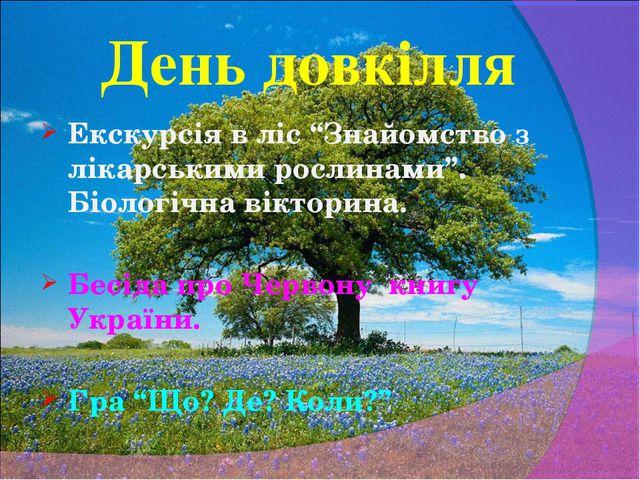 """День довкілля Екскурсія в ліс """"Знайомство з лікарськими рослинами"""". Біологічн..."""