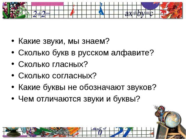 Какие звуки, мы знаем? Сколько букв в русском алфавите? Сколько гласных? Ско...