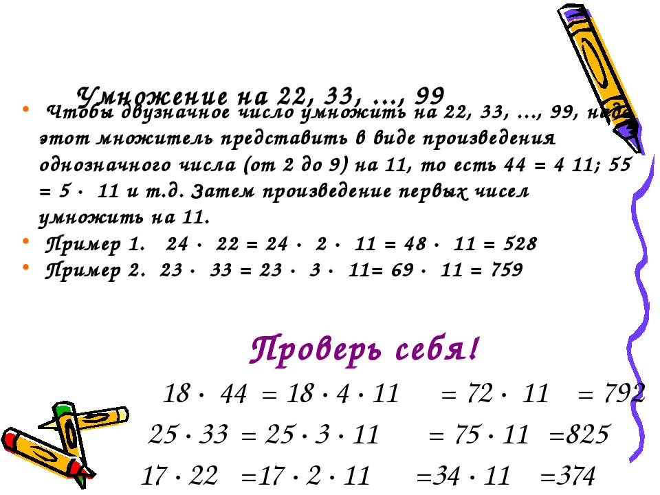 Умножение на 22, 33, ..., 99 Чтобы двузначное число умножить на 22, 33, ...,...