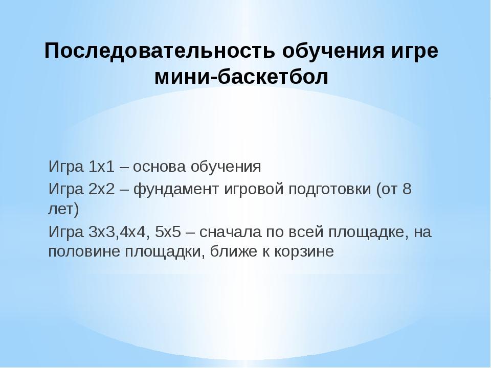 Последовательность обучения игре мини-баскетбол Игра 1х1 – основа обучения Иг...