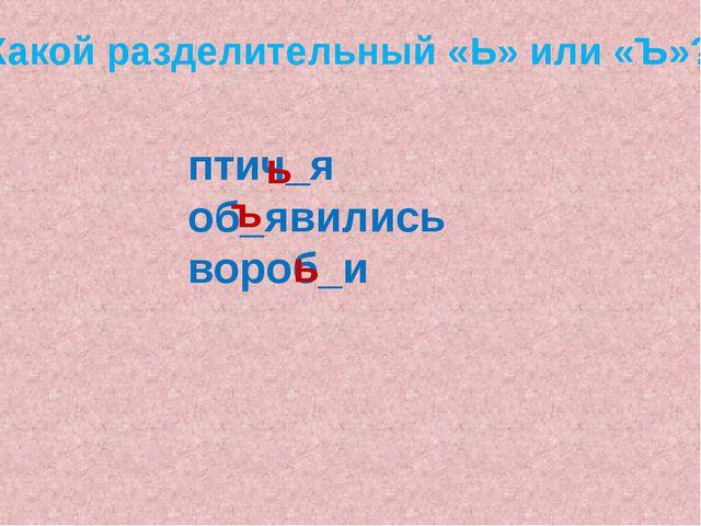 птич_я об_явились вороб_и ь ъ ь Какой разделительный «Ь» или «Ъ»?