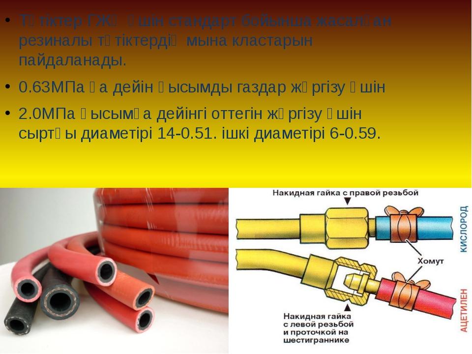 Түтіктер ГЖӨ үшін стандарт бойынша жасалған резиналы түтіктердің мына кластар...