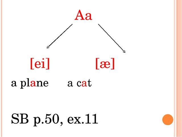 Aa [ei] [æ] a plane a cat SB p.50, ex.11