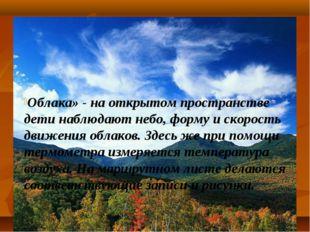 Облака» - на открытом пространстве дети наблюдают небо, форму и скорость движ