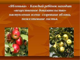 «Яблонька» - Каждый ребёнок находит «вещественное доказательство» наступления