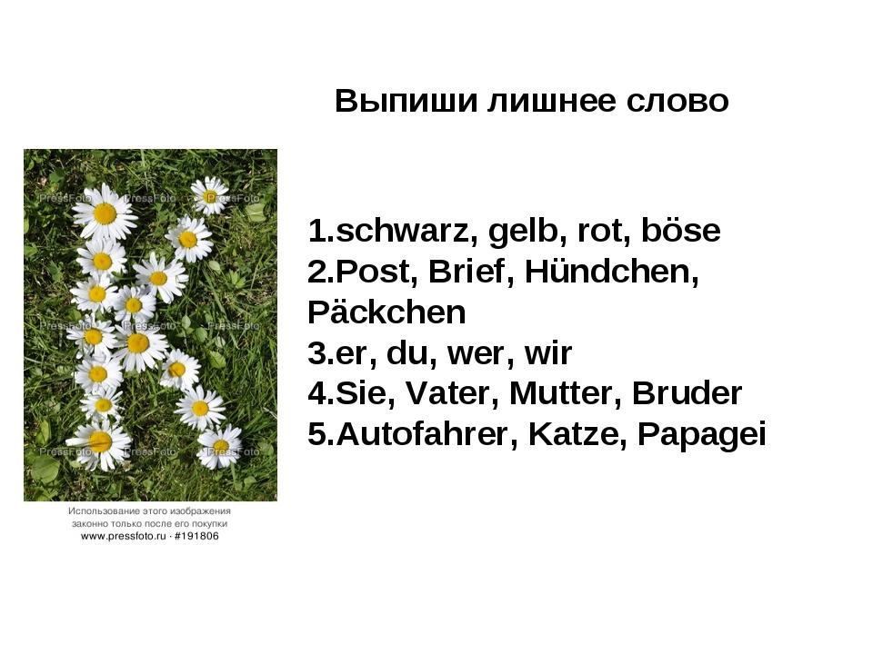 Выпиши лишнее слово 1.schwarz, gelb, rot, böse 2.Post, Brief, Hündchen, Päckc...