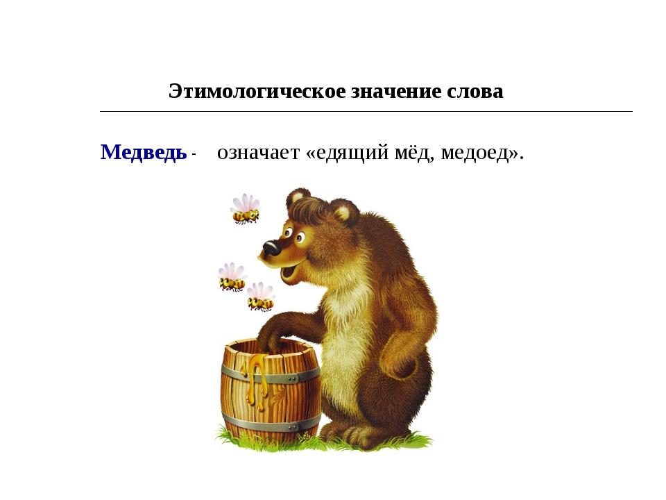Этимологическое значение слова Медведь - означает «едящий мёд, медоед».