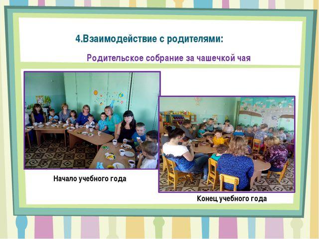 Начало учебного года Конец учебного года Родительское собрание за чашечкой ча...