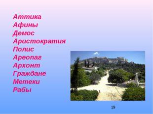 Аттика Афины Демос Аристократия Полис Ареопаг Архонт Граждане Метеки Рабы