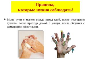 Правила, которые нужно соблюдать! Мыть руки с мылом всегда перед едой, после