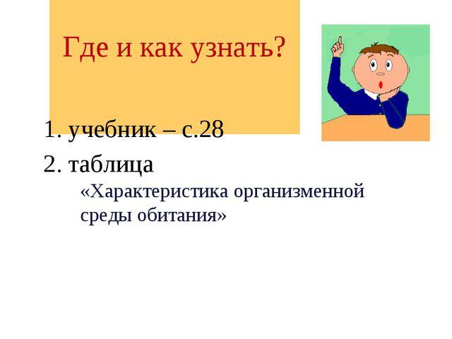 Где и как узнать? 1. учебник – с.28 2. таблица «Характеристика организменной...