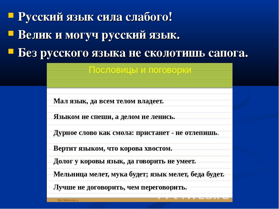 Русский язык сила слабого! Велик и могуч русский язык. Без русского языка не...