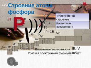 0 ))) p+= 15 e¯ = 15 n°= 15 Электронное строение Валентные возможности 2 8 5