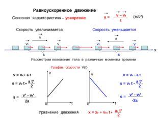 Равноускоренное движение а v v0 а Скорость увеличивается Скорость уменьшается