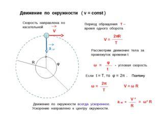 Движение по окружности ( v = const ) Скорость направлена по касательной Перио