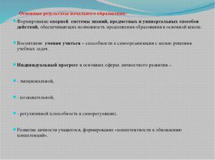 Основные результаты начального образования: Формирование опорной системы зна