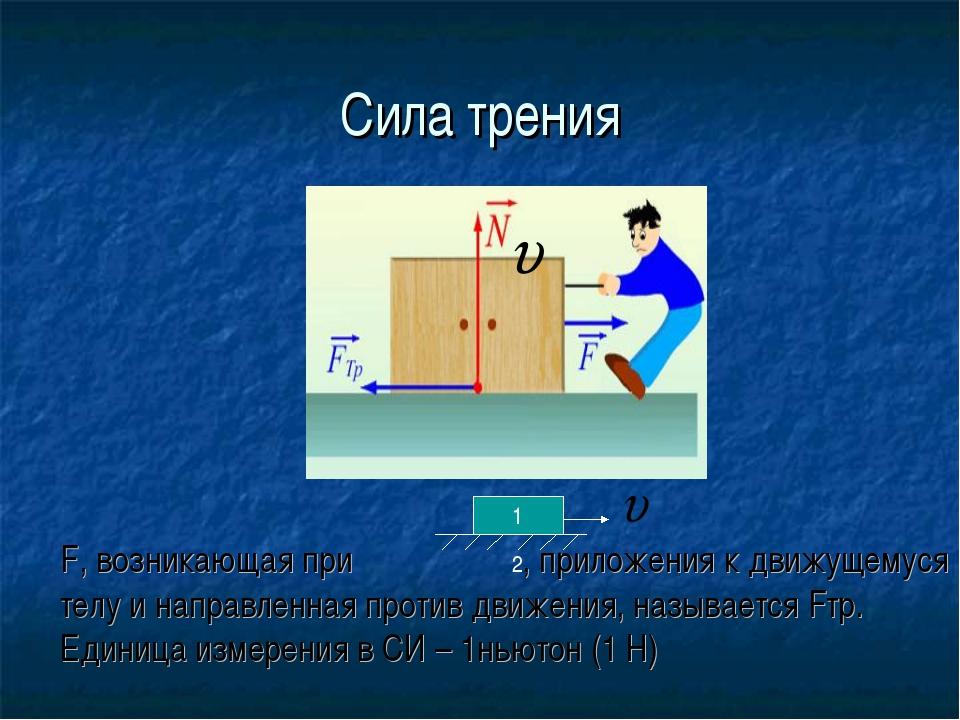 Сила трения F, возникающая при , приложения к движущемуся телу и направленная...