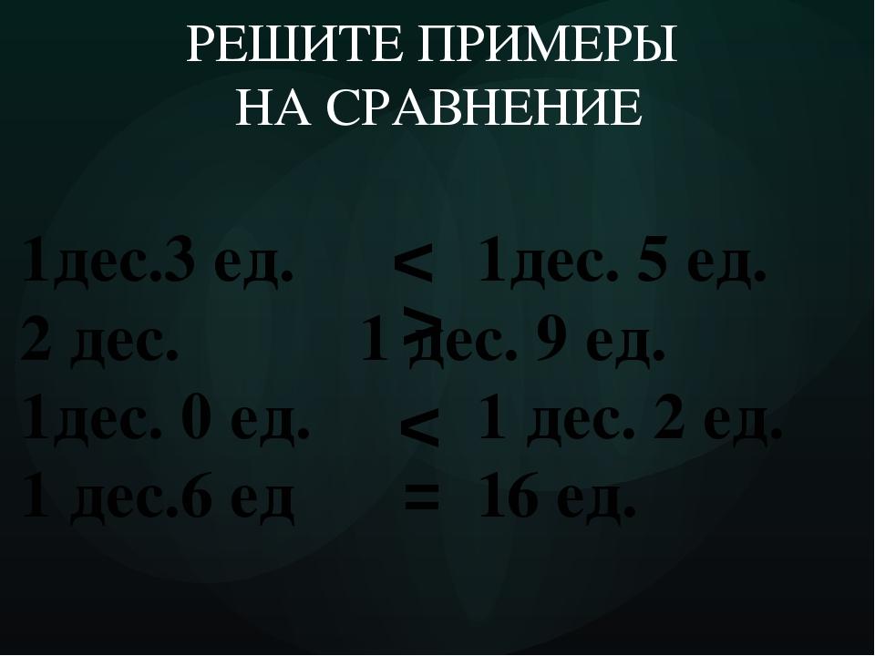 1дес.3 ед. 1дес. 5 ед. 2 дес.  1 дес. 9 ед. 1дес. 0 ед. 1 дес. 2 ед. 1 дес...