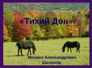 «Тихий Дон». Михаил Александрович Шолохов.