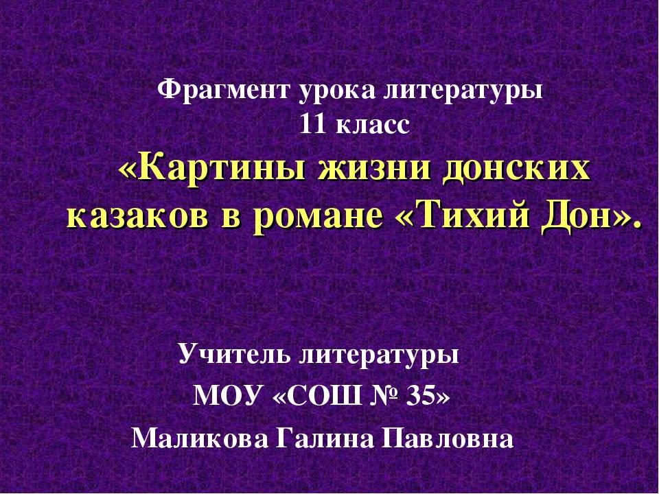 Фрагмент урока литературы 11 класс «Картины жизни донских казаков в романе «Т...