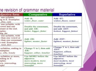 4. The revision of grammar material